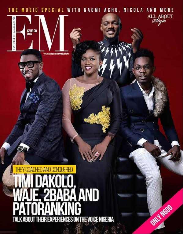 It's 2baba , Waje , Timi , Dakolo, Patoranking for the Music Industry Giants Edition of Exquisite Magazine